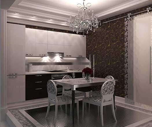 роскошный интерьер линейной кухни 3 метра