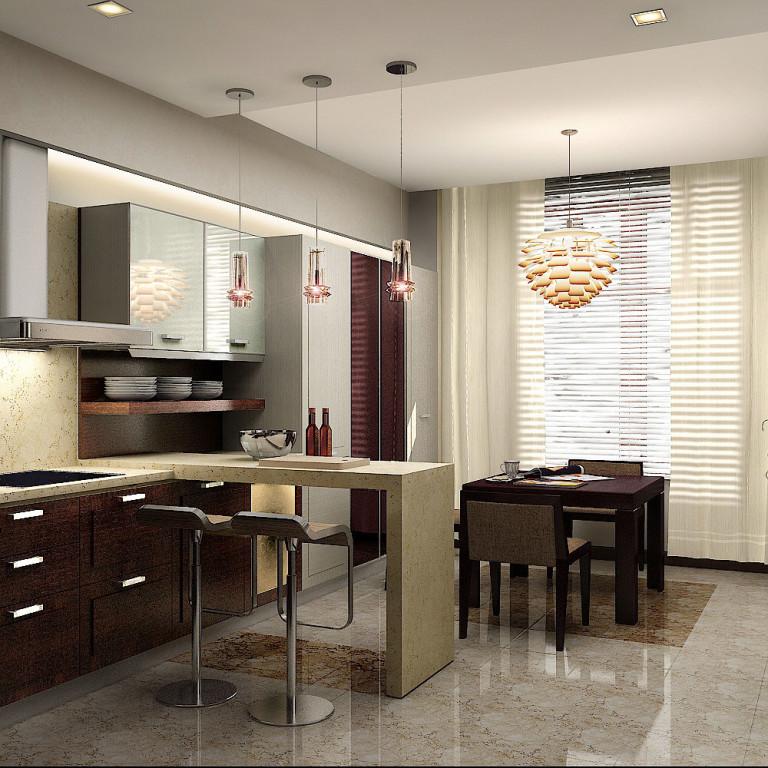 лёгкие шторы с жалюзи для кухни 2017