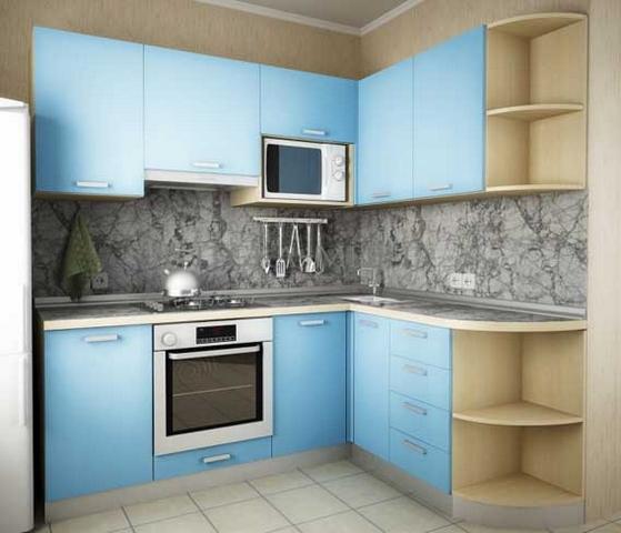 голубая угловая кухня