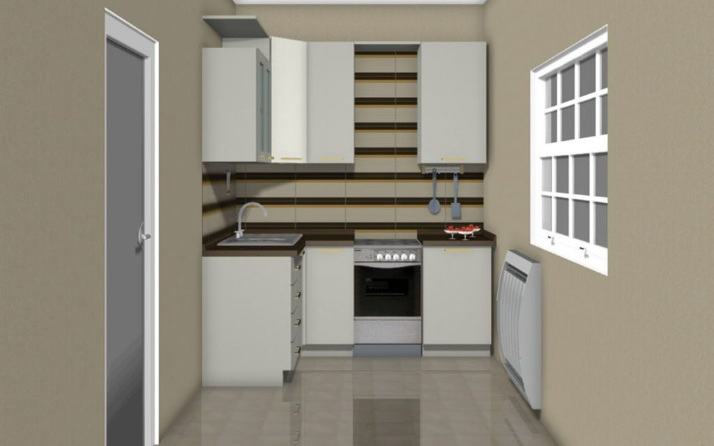 светлая встроенная угловая кухня с нишей и фартуком
