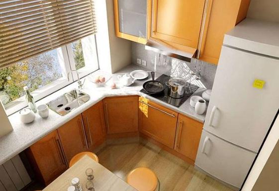 Дизайн маленькой угловой кухни