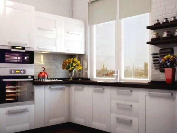 фото угловая кухня с окном
