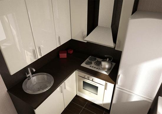 белая кухня с газовой колонкой