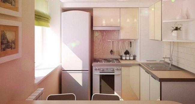угловой бежевый гарнитур на кухне 2 на 3 метра