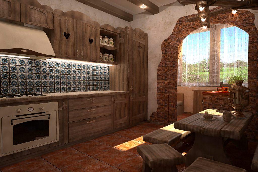 деревянная кухня со столом своими руками