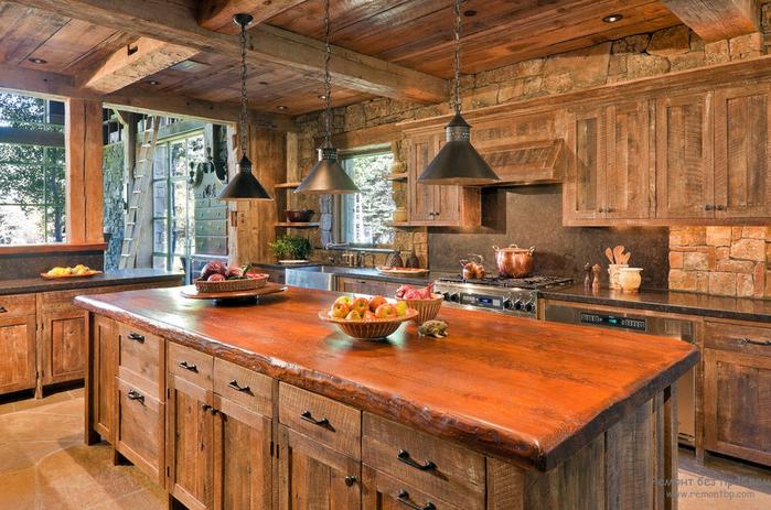 деревянная кухня своими руками с островной зоной