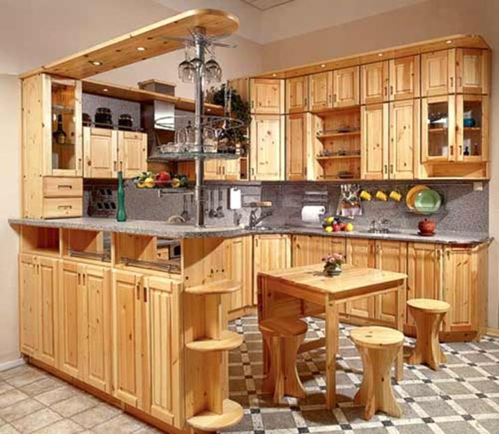 деревянная кухня с барной стойкой своими руками