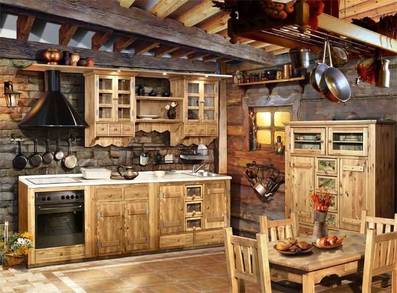 интерьер кухни из дерева своими руками
