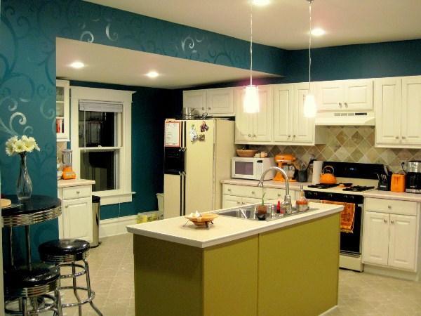 бирюзовые с орнаментом обои для кухни 2017