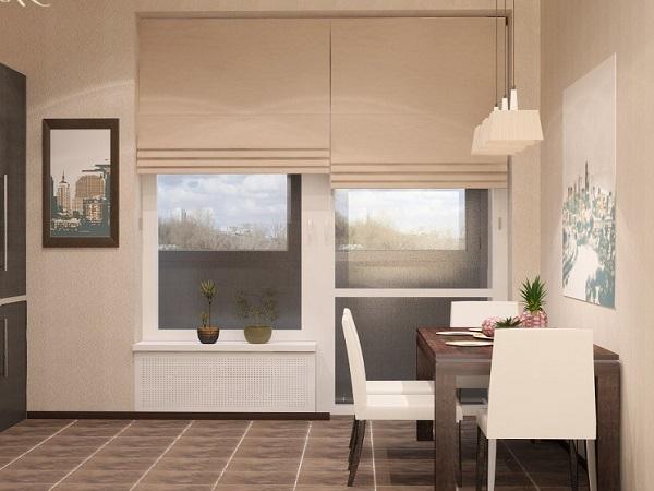 римские шторы кухню с балконом
