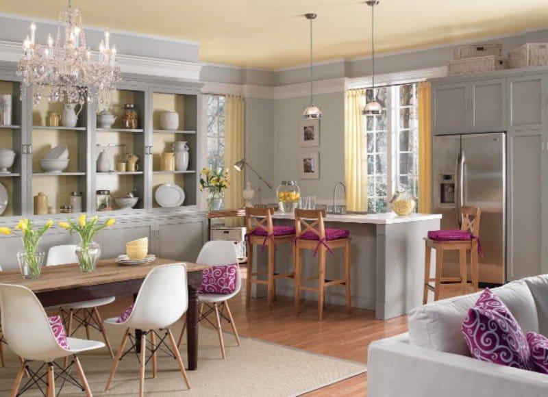 жёлтый с фиолетовым в интерьере кухни