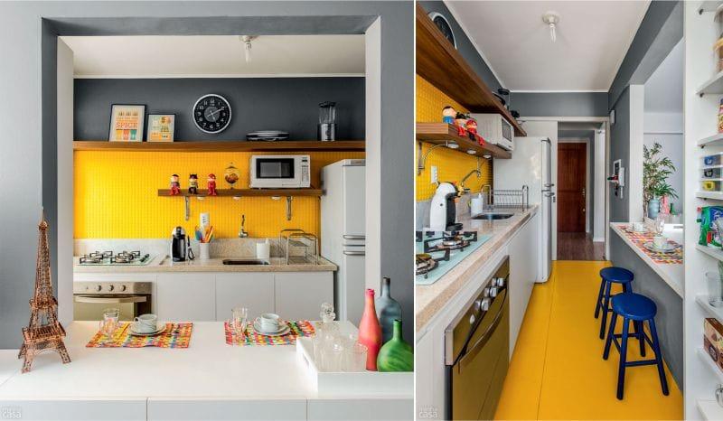 жёлтый фартук и пол в интерьере кухни