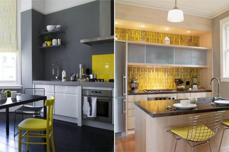 жёлтый фартук в интерьере кухни