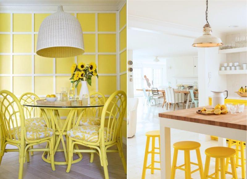 жёлтые стулья на кухне