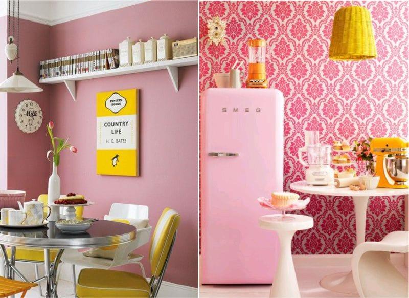 жёлтый с розовым на кухне