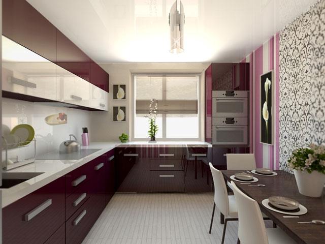 фиолетовая кухня 11 кв.метров