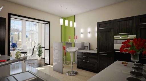 объединённая кухня с балконом