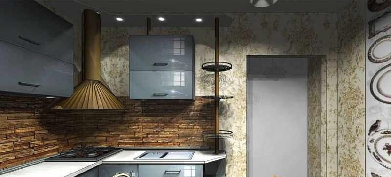 фартук каменный на кухне 11 кв.м.