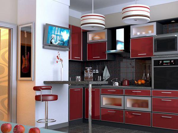 бордовая кухня 11 кв.м.