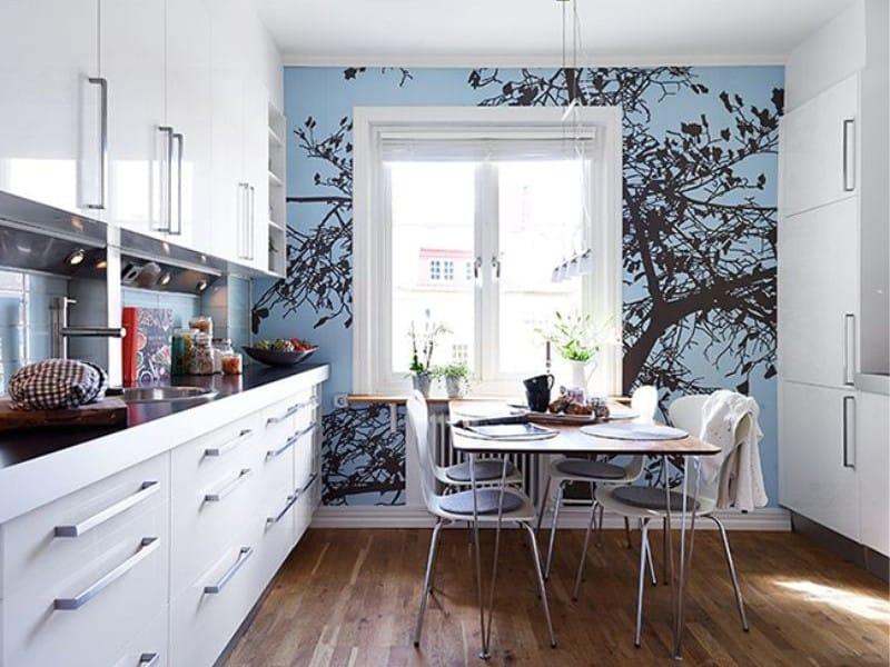 фотообои голубые на кухне