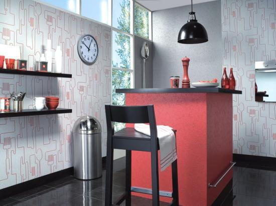 вертикальные обои для кухни