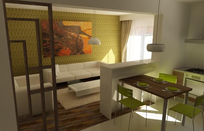 зонирование кухни-гостиной 17 кв.м. с помощью декоративной перегородки