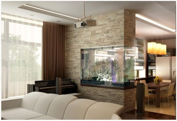 зонирование аквариумом кухни-гостиной 17 кв.м.