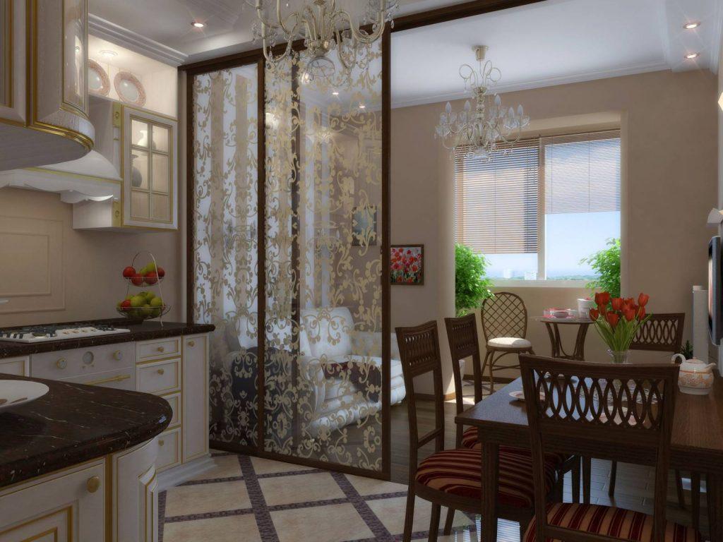 зонирование декоративной перегородкой кухни-гостиной 17 кв.м.