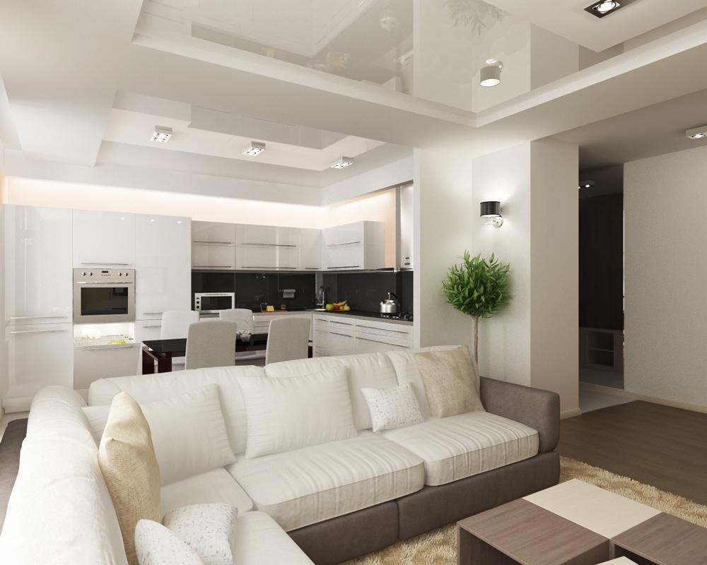 зонирование диваном кухни-гостиной 17 кв.м.