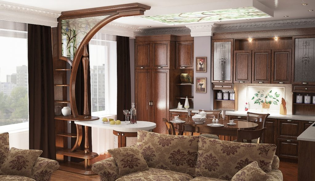 зонирование барной стойкой кухни-гостиной 17 кв.м.