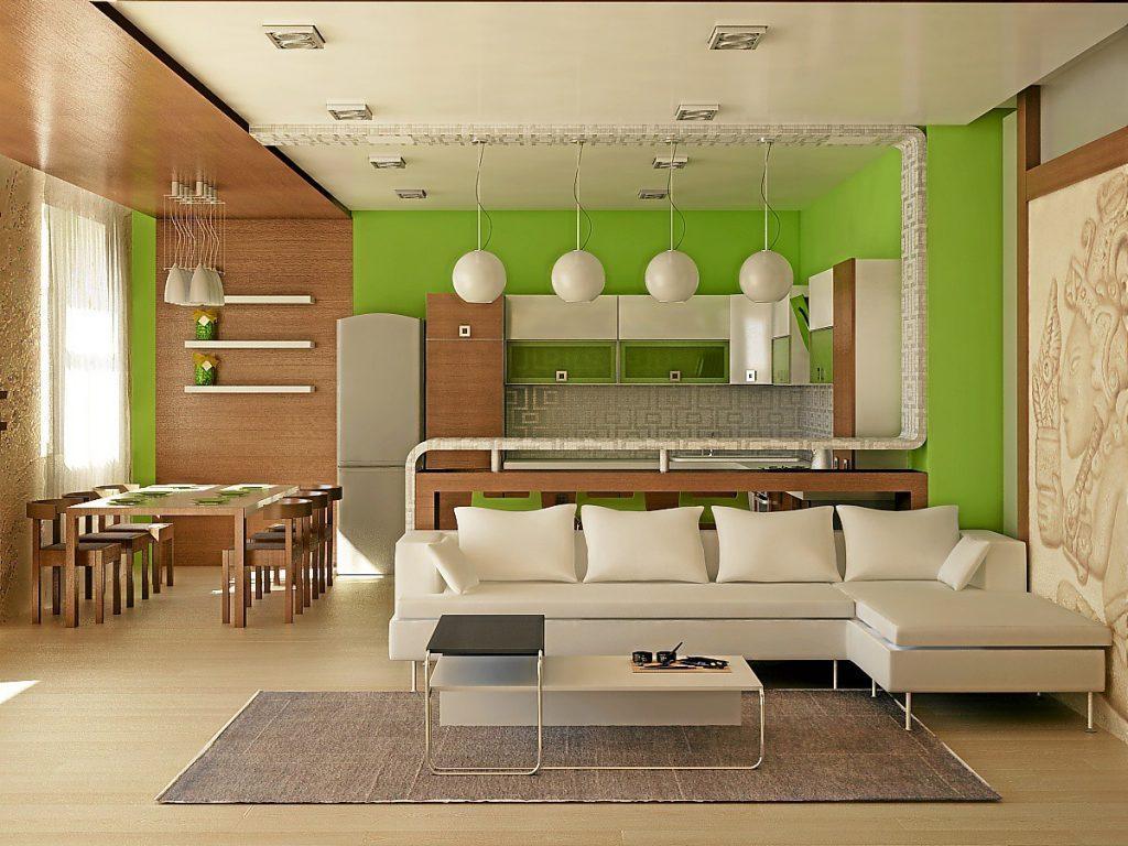 зонирование по цветам кухни-гостиной 17 кв.м.