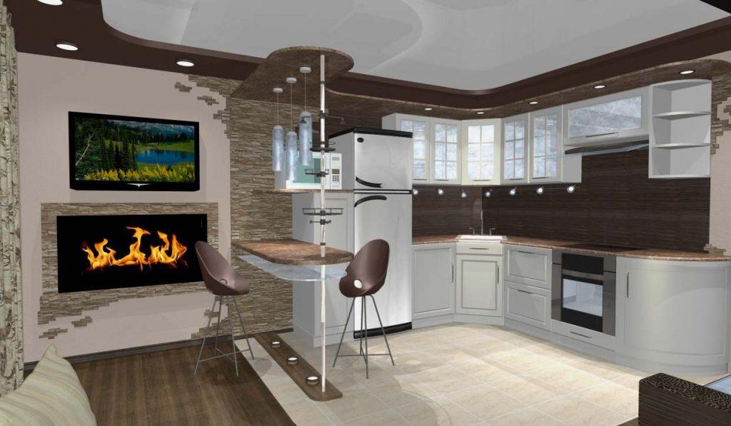 зонирование кухни-гостиной 17 кв.м. с помощью барной стойки