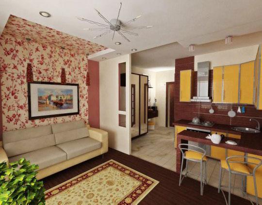 зонирование перегородкой кухни-гостиной 17 кв.м.