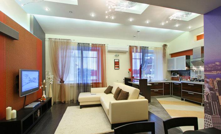 зонирование кухни-гостиной 17 кв.м. с помощью дивана