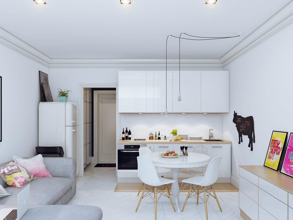 зонирование расстановкой мебели на кухни-гостиной 17 кв.м.