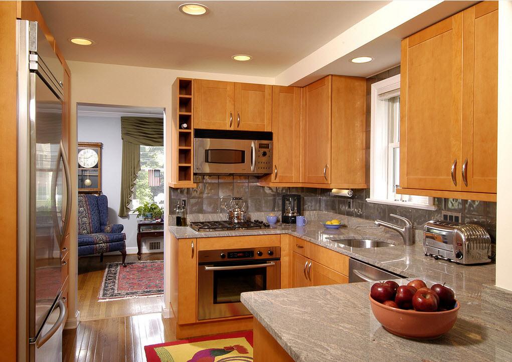 деревянная маленькая кухня