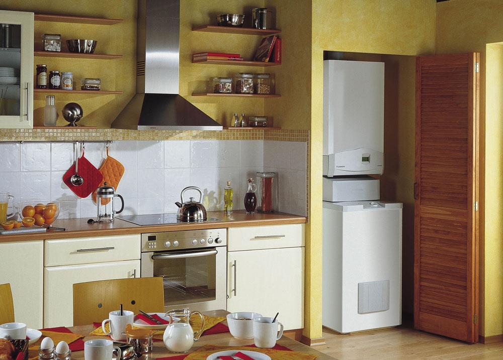 газовый котёл в нише на кухне