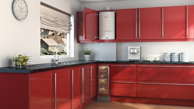газовый котел на стене кухни