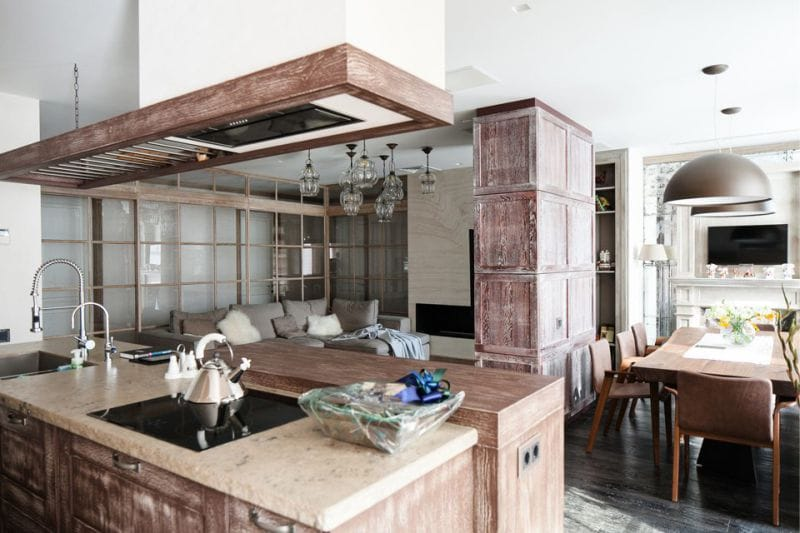 кухня столовая с островной зоной