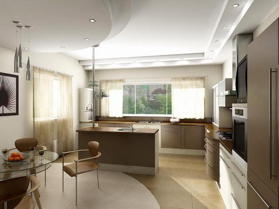 кухня столовая с островом