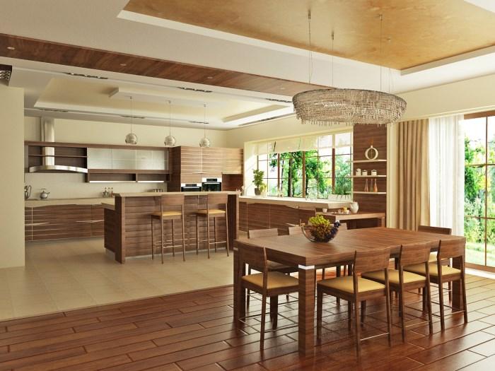кухня столовая под дерево