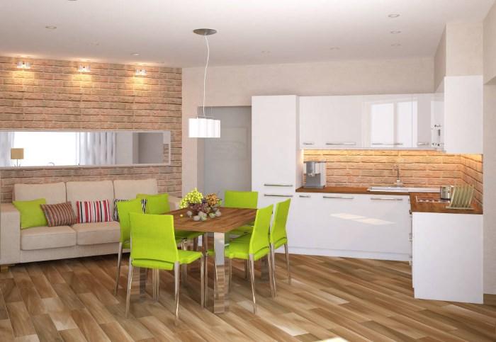 кухня столовая с диваном