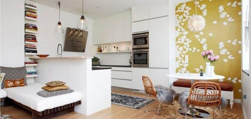зонирование кухни столовой