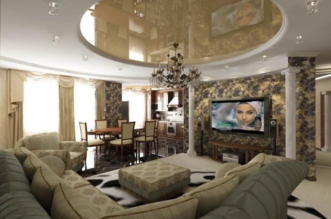 Пример интерьера кухни столовой гостиной