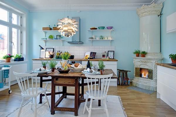 камин на кухне в скандинавском стиле