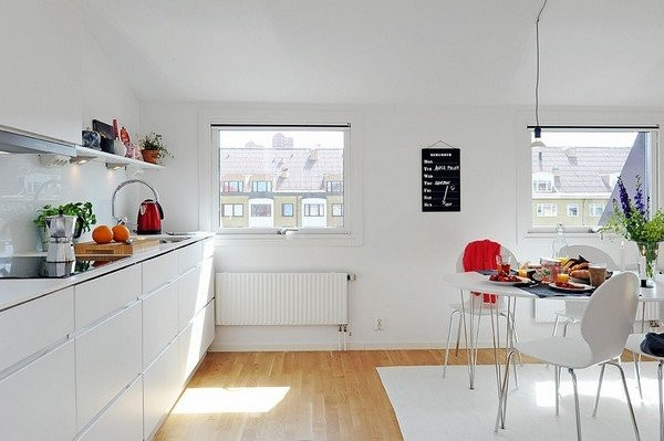 белые фасады на кухне в скандинавском стиле