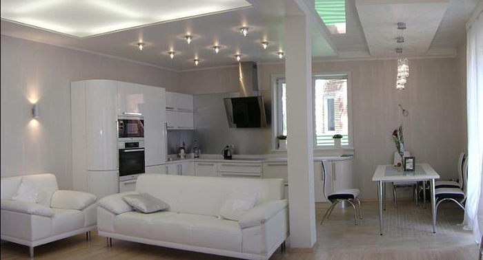 освещение на кухне хай тек
