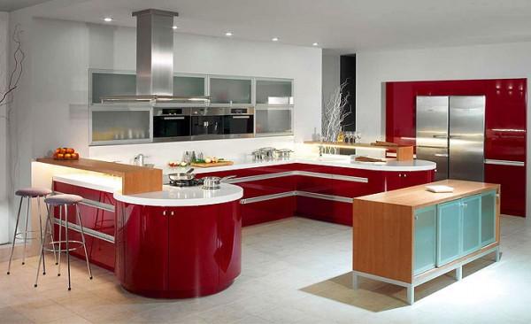 красный на кухне в стиле хай тек 2017