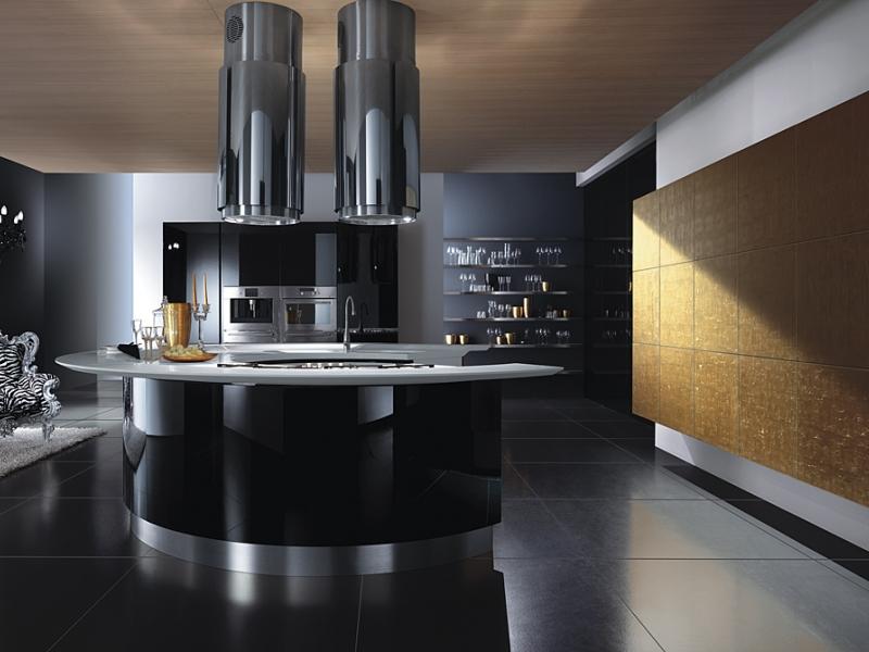 чёрный и коричневый на кухне в стиле хай тек 2017