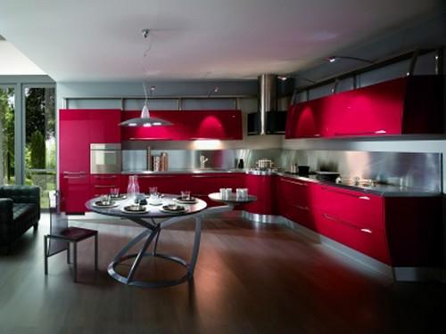 Кухня малиновая в стиле хай-тек